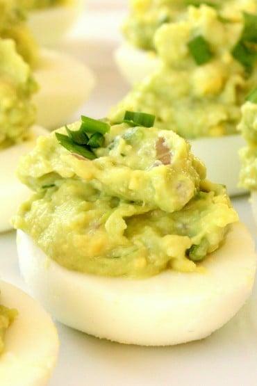 A plate of Avocado Deviled Eggs