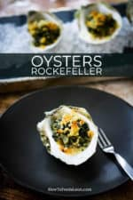 A small circular black plate with an oysters Rockefeller placed in the middle of it next to an oyster fork.
