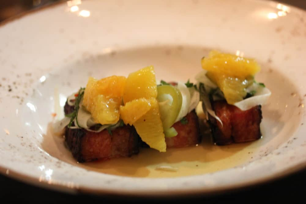 Flash fried pork belly with orange, fennel and pickled serrano chili