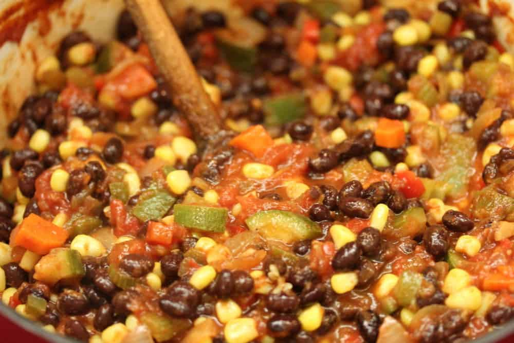 Now, add in the black beans and corn!