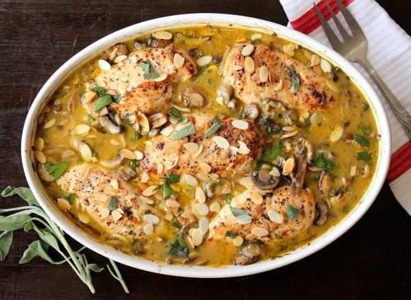 Chicken, mushroom, rice & sage casserole