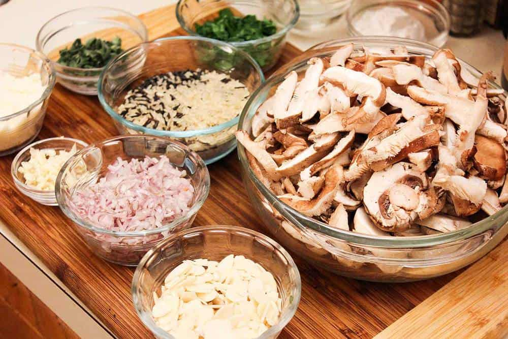 Ingredients for chicken, sage and mushrooms casserole.