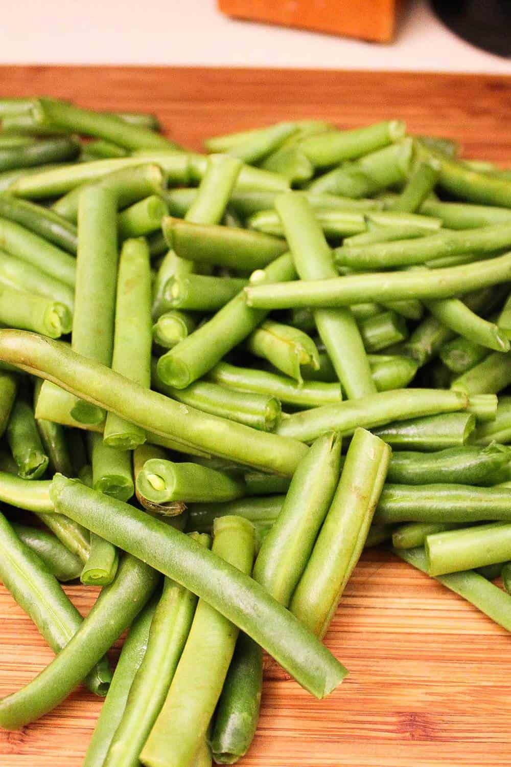 Fresh green beans for gourmet green bean casserole