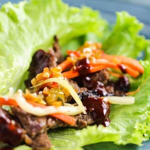 Korean Beef (Bulgogi) Lettuce Wraps on a blue plate