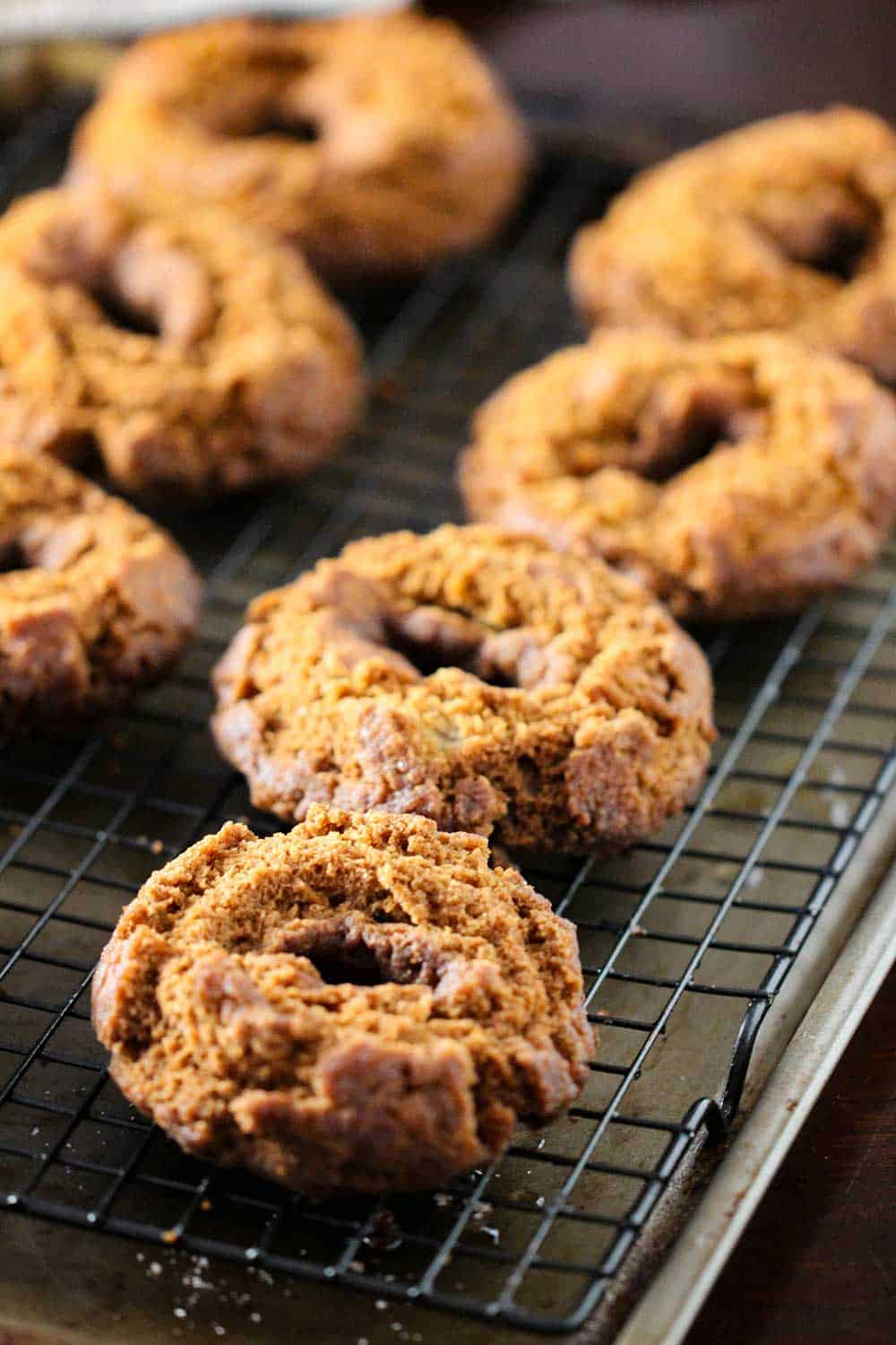 Apple cider doughnuts on a baking rack and baking sheet just after being fried.
