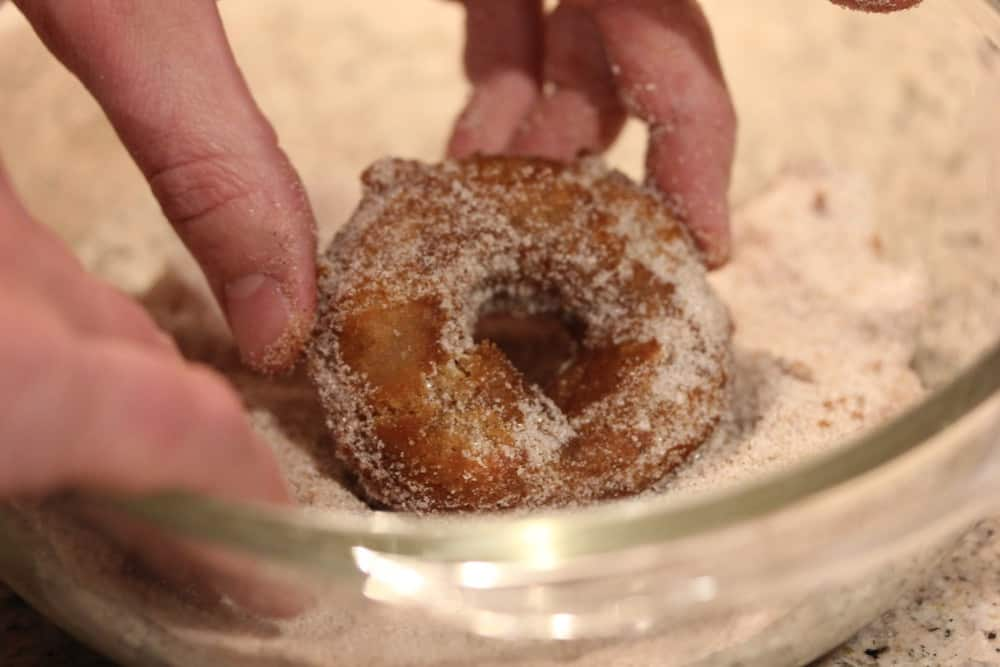 Toss in a sugar / cinnamon mixture