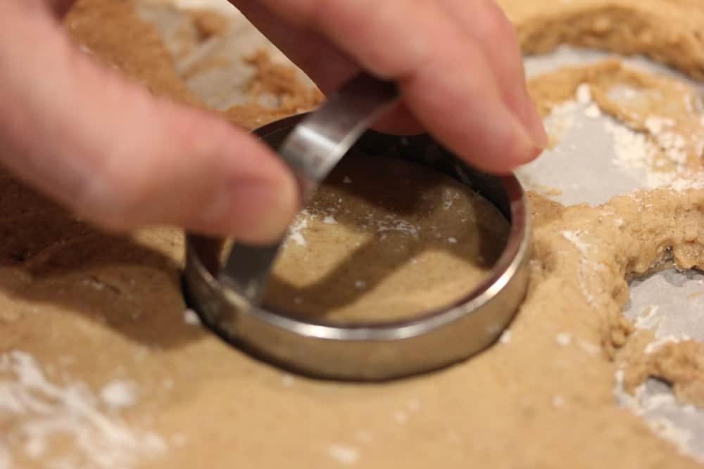 "Use a 3"" or 3 1/2"" cutter to cut out the doughnut"