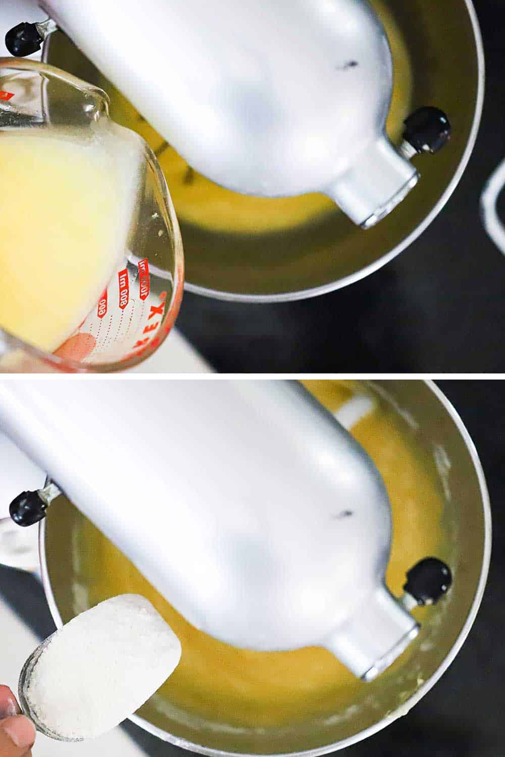 Melted butter being poured from a measuring cup into a stand mixer bowl and then flour being added into the bowl.