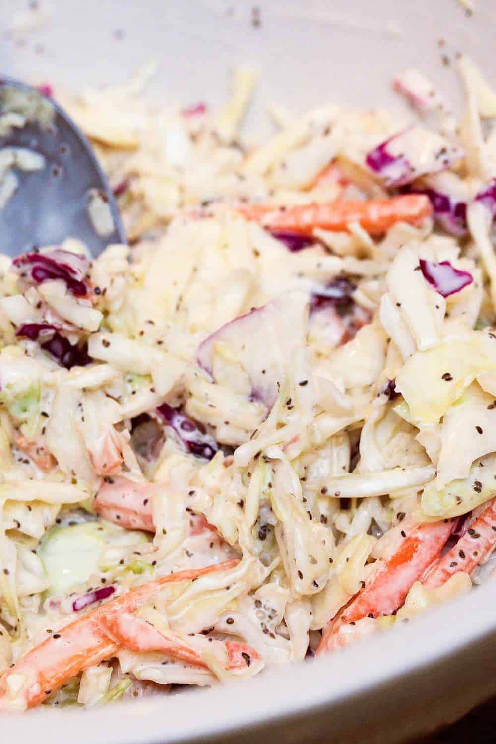 A bowl of Cole slaw for a fried catfish po-boy