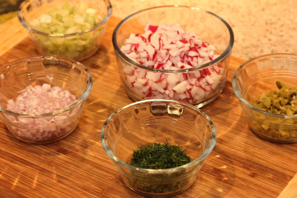 Shallots, radishes, pickles, celery and dill make it so nice