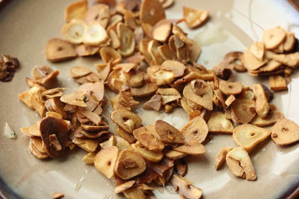 Garlic cooked until golden