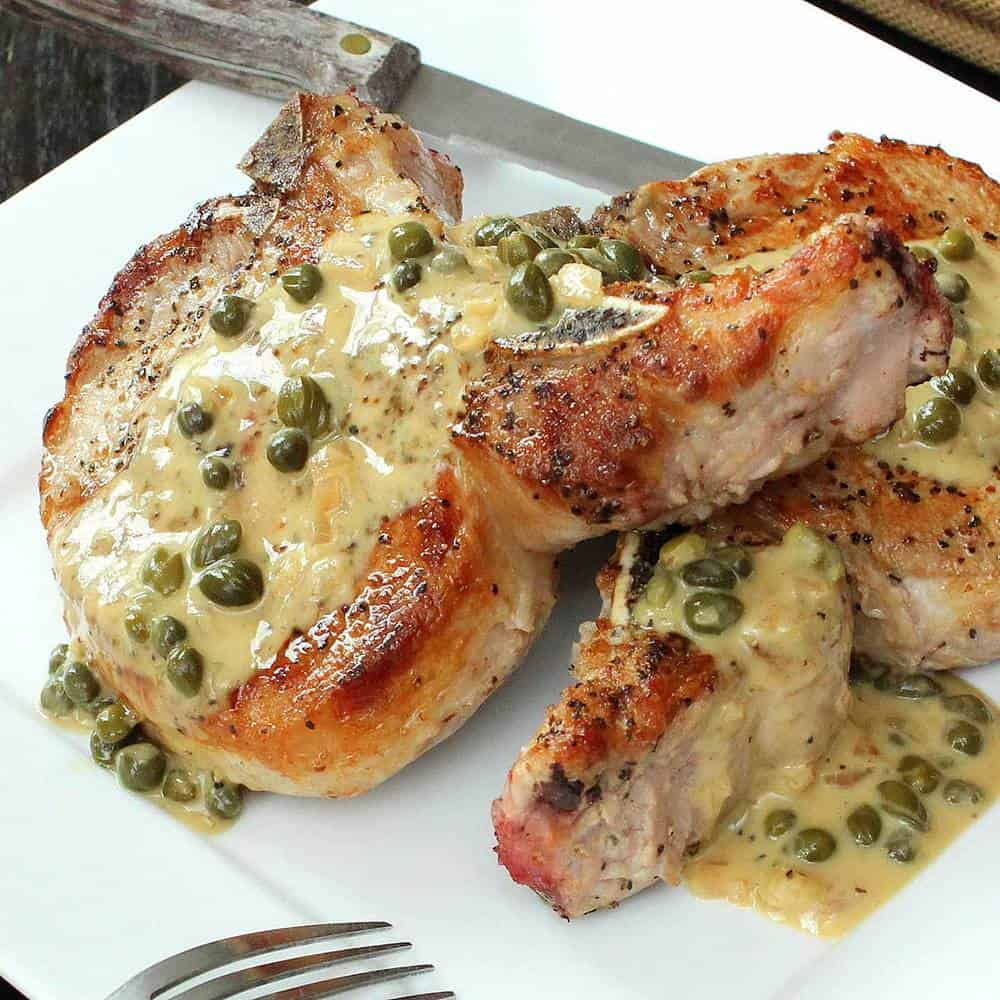 Smothered Seared Pork Chops recipe