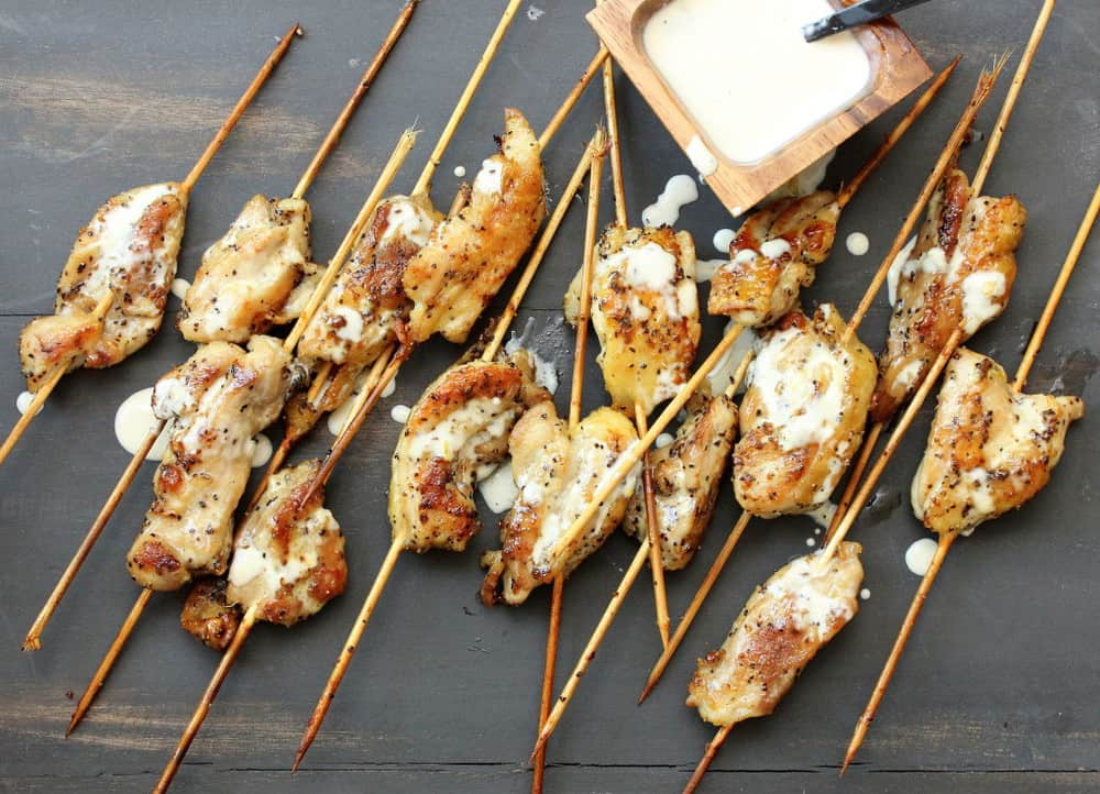 Grilled Chicken Skewers with White BBQ Sauce
