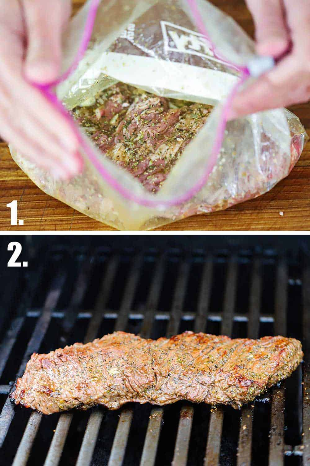 A plastic baggie filled with a skirt steak and a Greek dressing and then that steak on a gas grill.