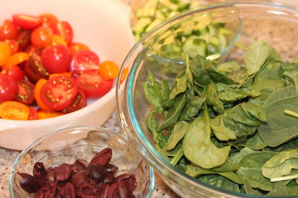 Greek salad ingredients are so good!