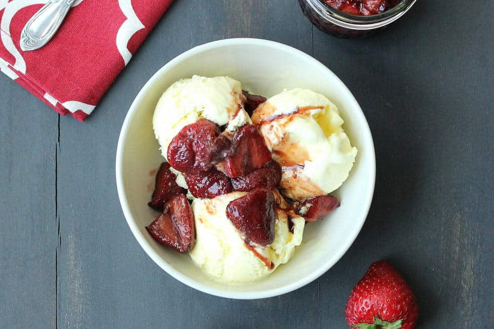 Olive Oil Ice Cream with Roasted Balsamic Strawberries