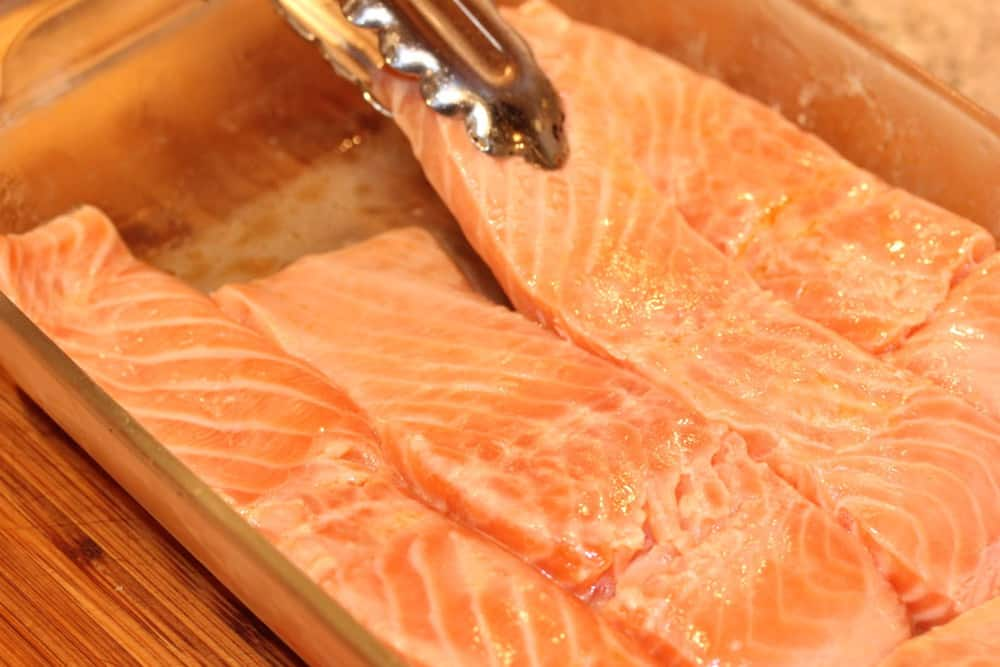 Marinate the salmon for about 2 hours before grilling