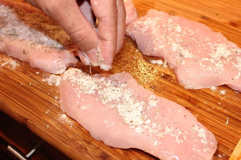 Season the turkey cutlets first