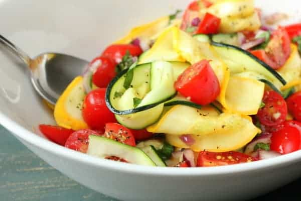 "Zucchini and Summer Squash ""Pasta"" Salad"