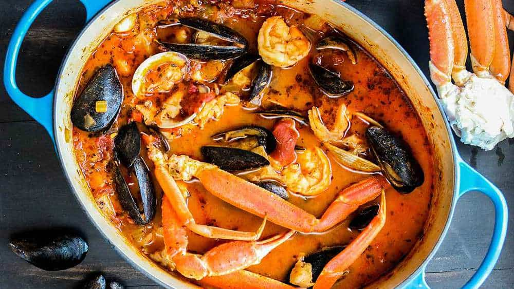 Classic cioppino in a pot