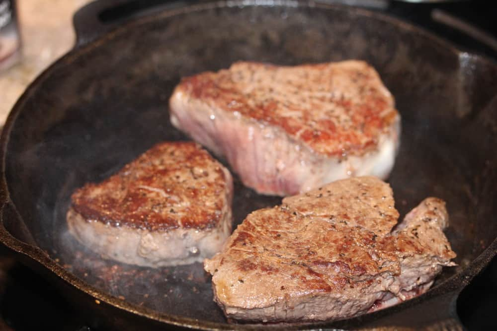 Pan sear the steaks