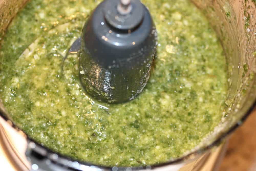 Easy Pesto Sauce in a food processor.