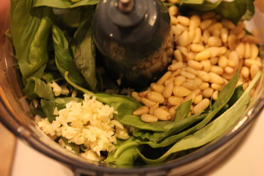 Basil, garlic and pine nuts in a food processor for pesto sauce.