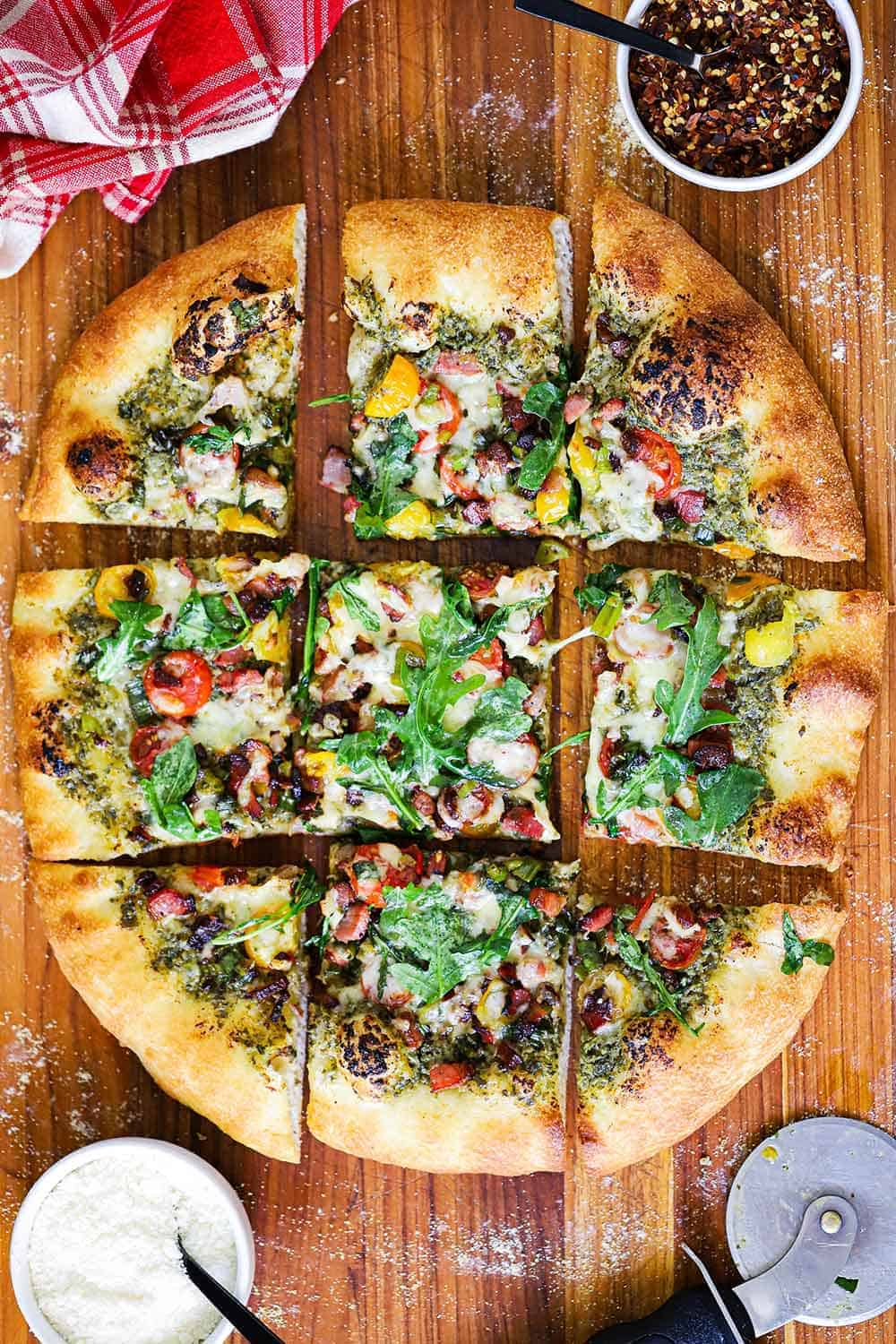 Pesto Pizza with Pancetta, Tomatoes and Arugula