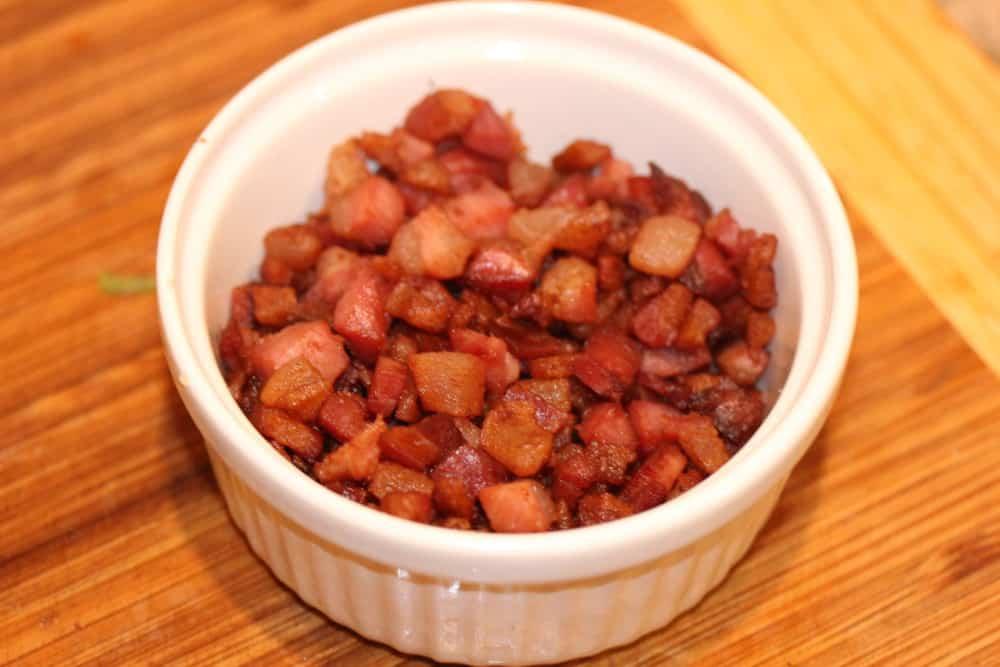 Mmmm...cooked pancetta (Italian bacon!)