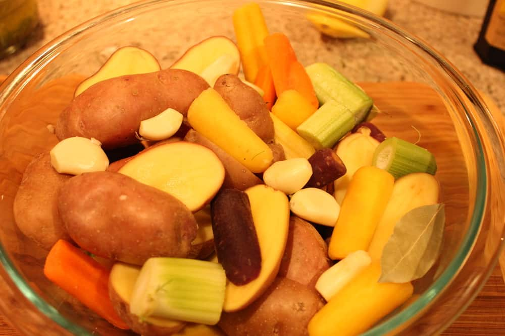 Fingerling potatoes, rainbow carrots and fennel roast perfectly