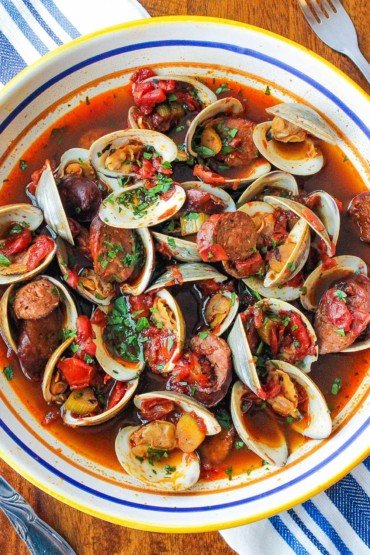 Portuguese-Style Clam Chowder in a large bowl