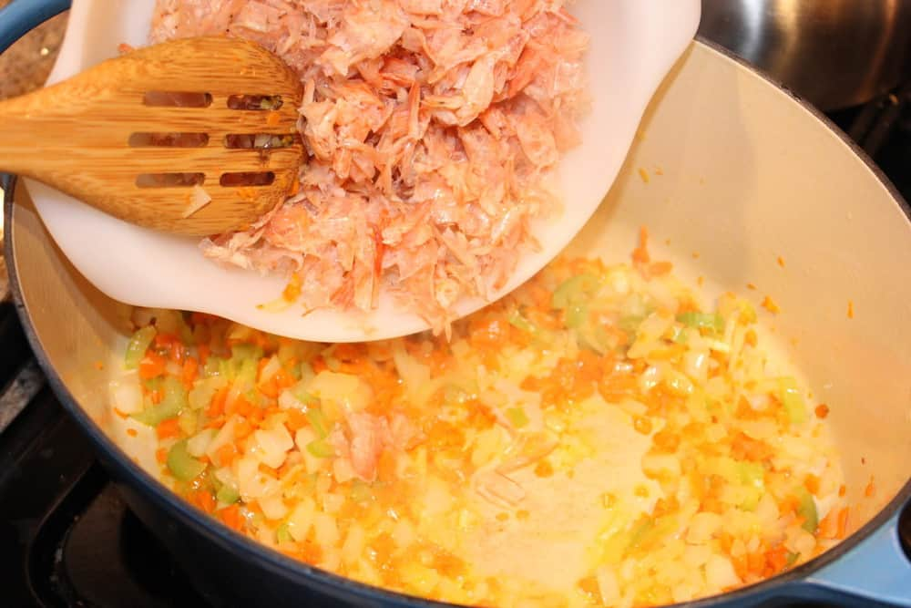 The shrimp shells deepen the flavor at the stock simmers