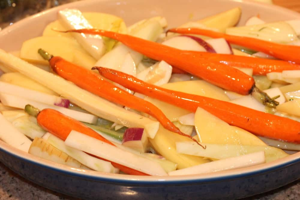 Toss the veggies in a little oil before baking