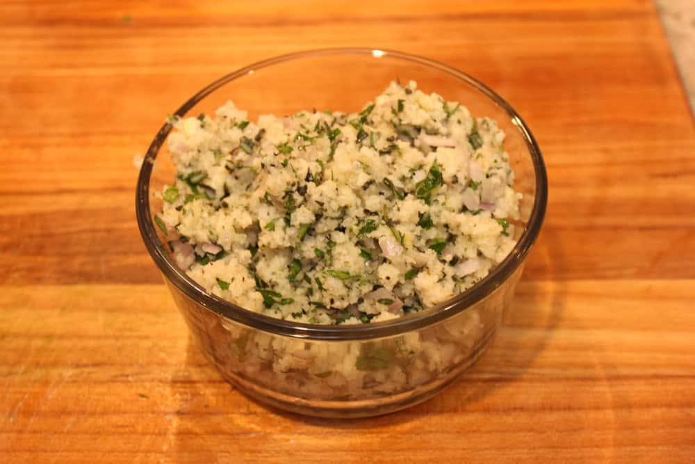 Persillade is bread crumbs, herbs, shallots, garlic and oil with stock