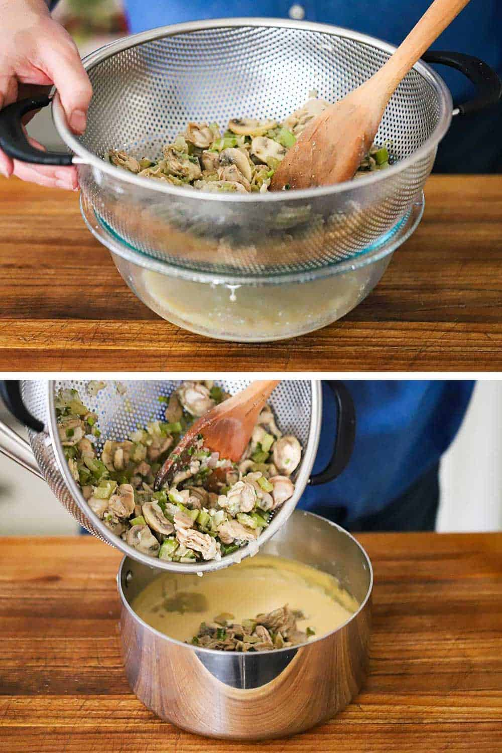 A person draining cooked oysters and mushrooms into a colander over a glass bowl and then transferring them into a saucepan filled with béchamel sauce.