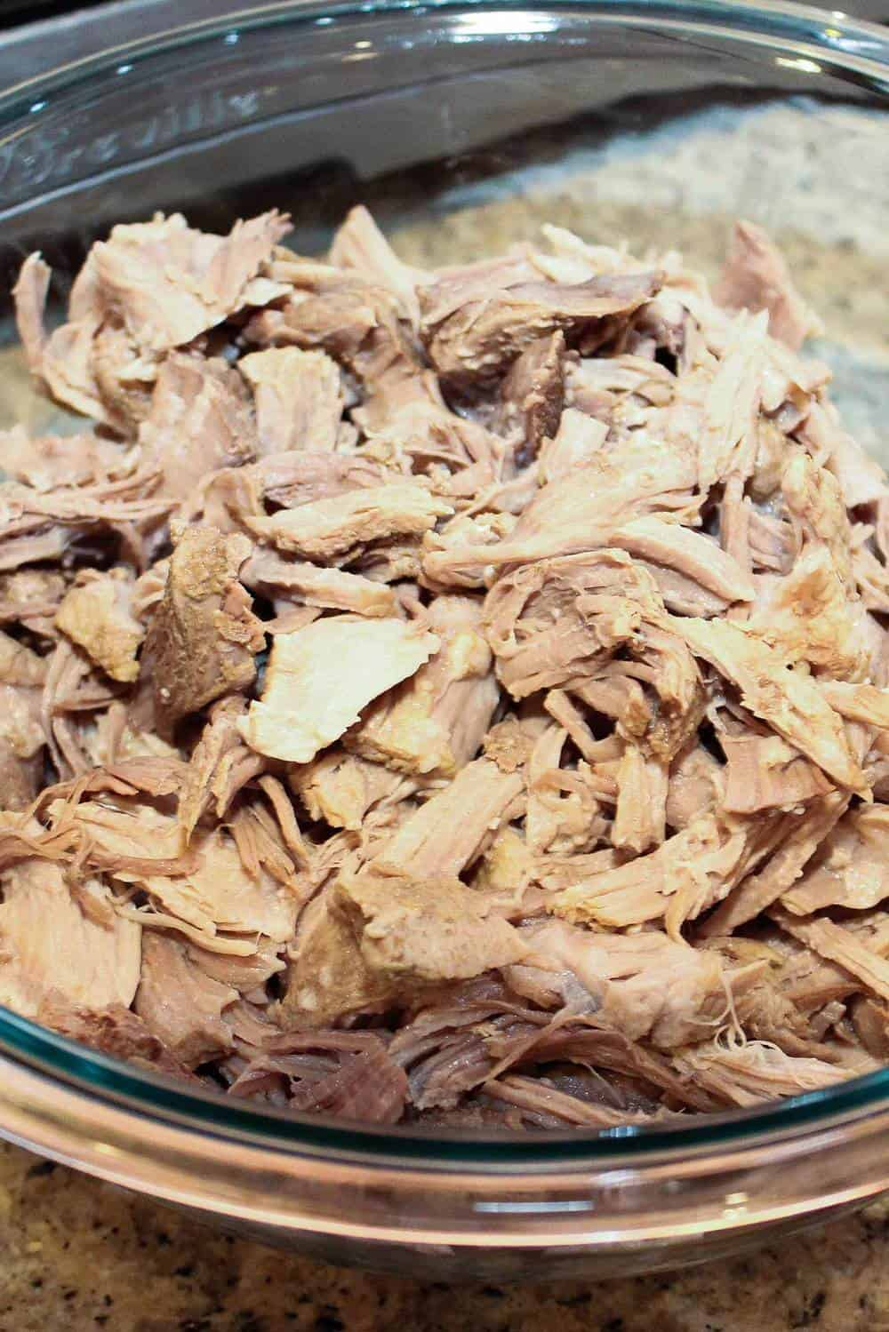 Shredded pork for pozole rojo.
