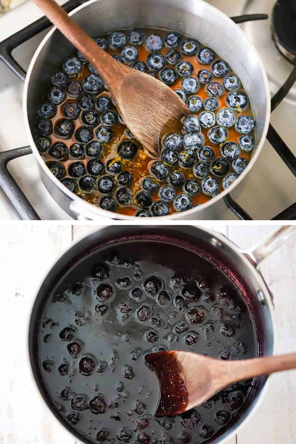 A silver medium-sized sauce pan filled with whole blueberries and maple syrup, and then the pan after the berries have burst from the heat.