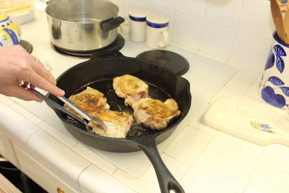 Brown the chicken over medium-high heat