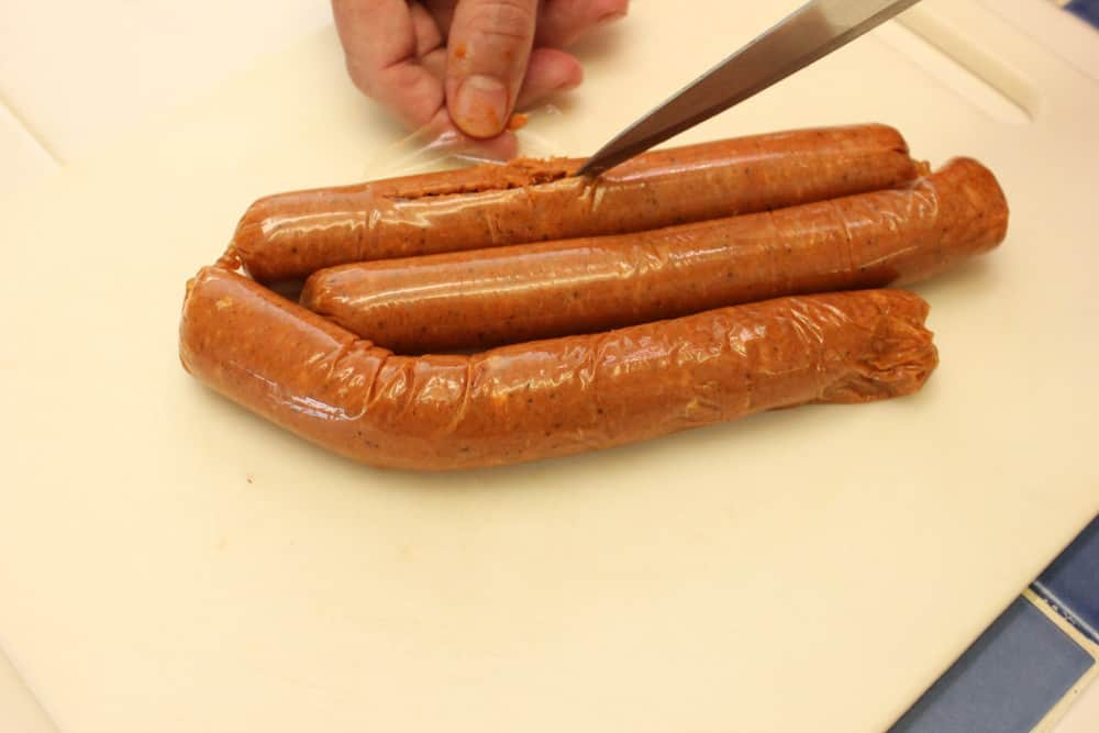 Get fresh chorizo sausage and remove the casings