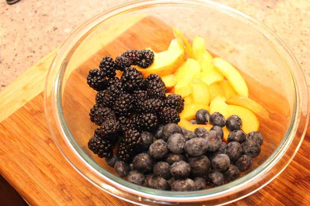 Fresh peaches, blueberries and blackberries are so nice!