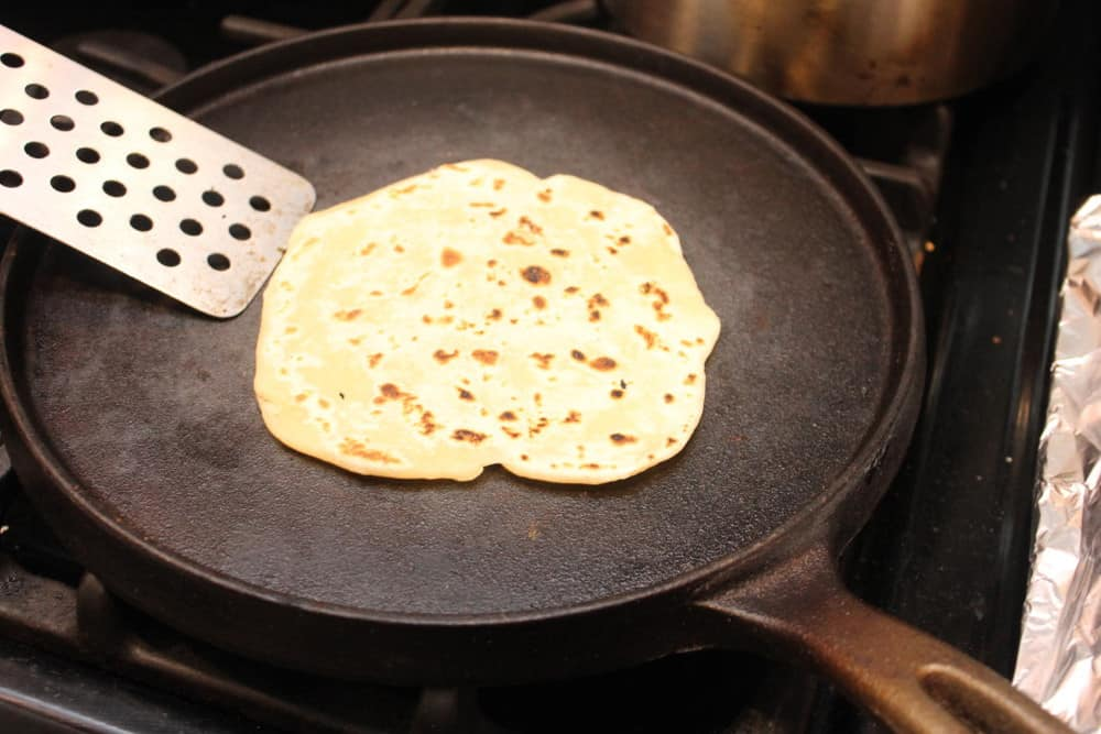 Cook the tortillas on a cast iron skillet or a comal