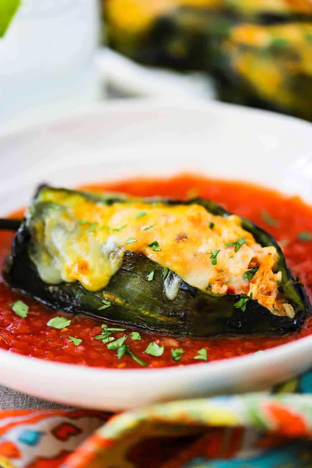 Stuffed Poblanos with Red Sauce