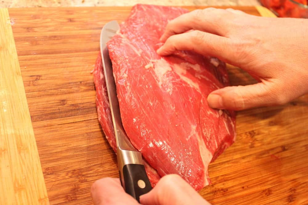Start with a about 1 1/2 lb flank steak