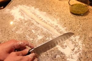 Cutting the gnocchi dough