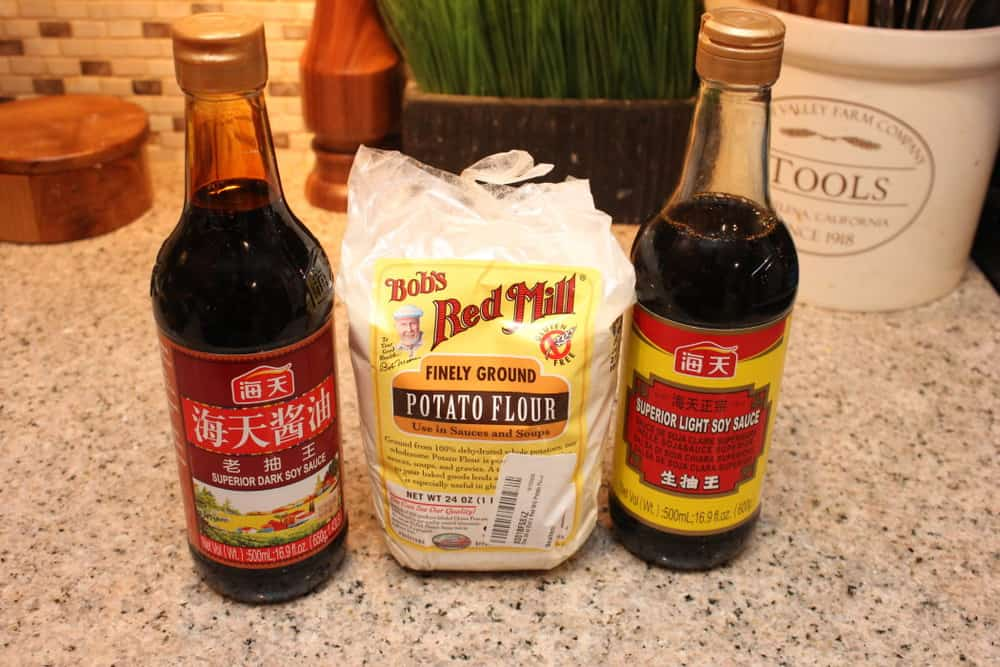 Dark and Light Soy Sauces and Potato Flour can easily be found online or at Asian markets
