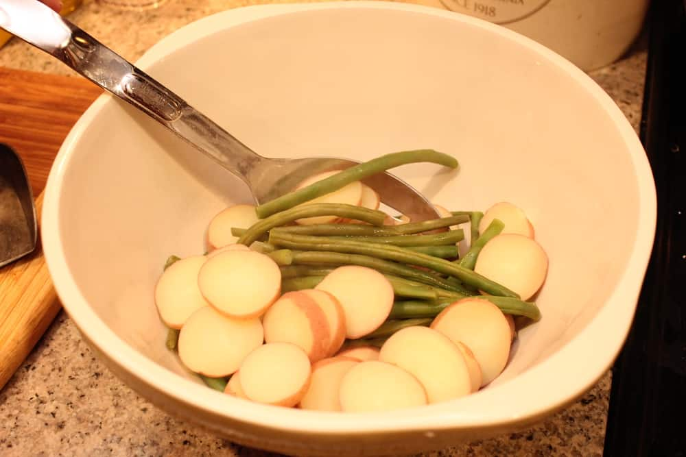 Baby red potatoes and young green beans go perfectly together