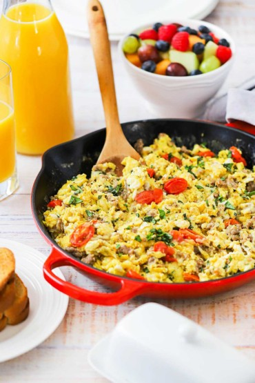 Skillet Scramble with Fontina, Tomatoes and Basil