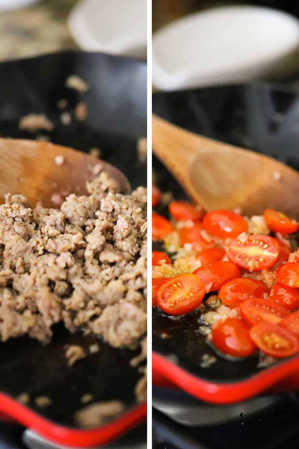 Italian sausage being sautéd in a skillet and then shallots and grape tomatoes being sautéd in the same skillet.