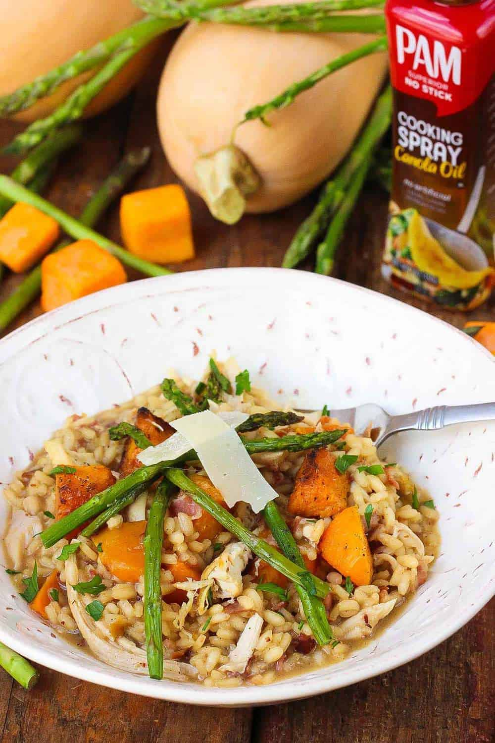 Roasted butternut squash asparagus and chicken risotto how to roasted butternut squash risotto recipe pam forumfinder Images