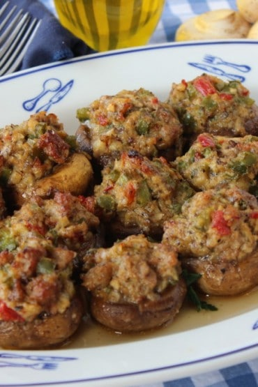 Mushrooms Stuffed with Italian Sausage and Peppers recipe